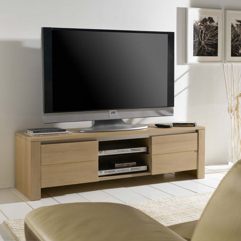 meuble tv 2 portes ch ne massif. Black Bedroom Furniture Sets. Home Design Ideas